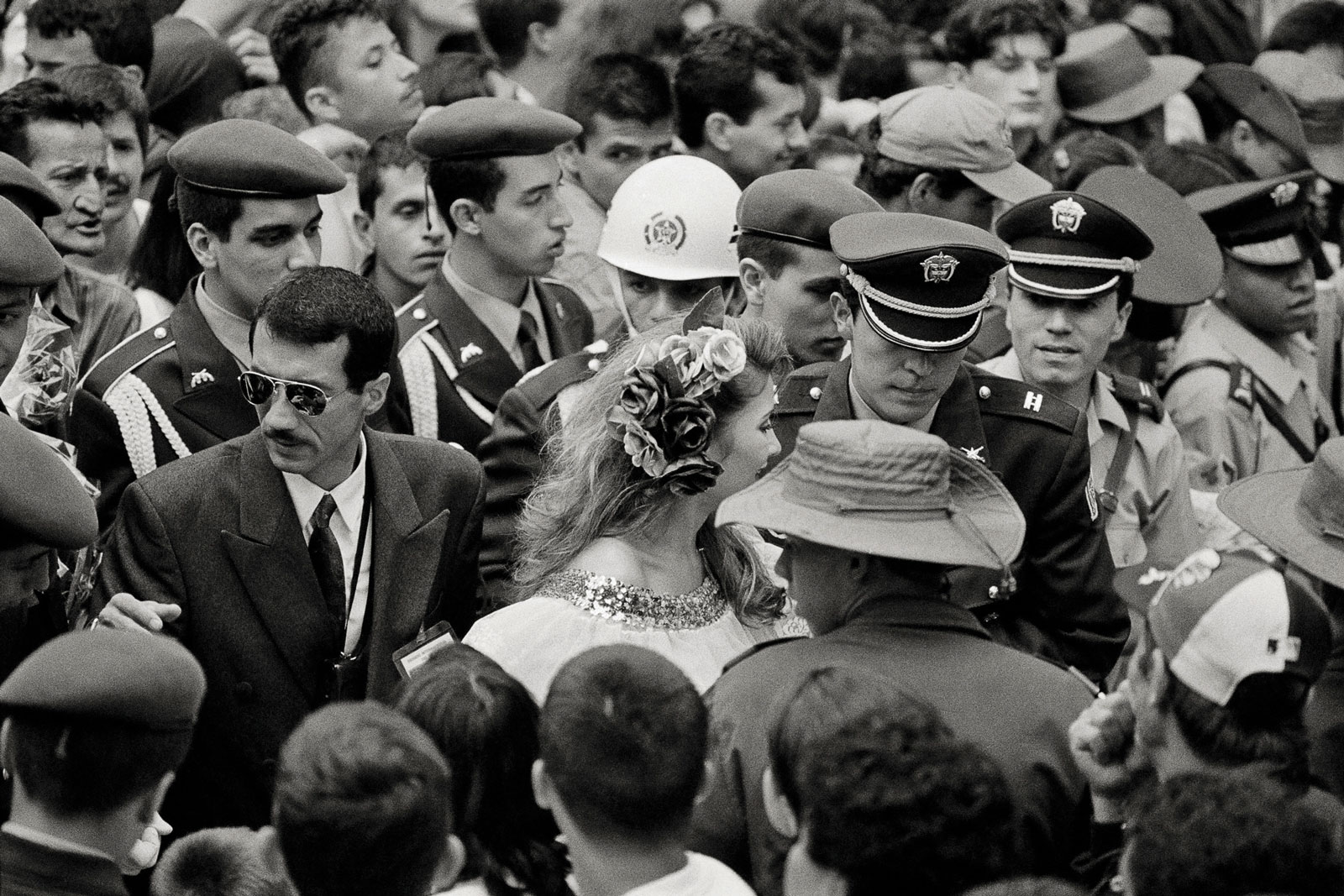 <i>Safe Passage</i> (1997) Security detail at the Miss Coffee pageant in Manizales.