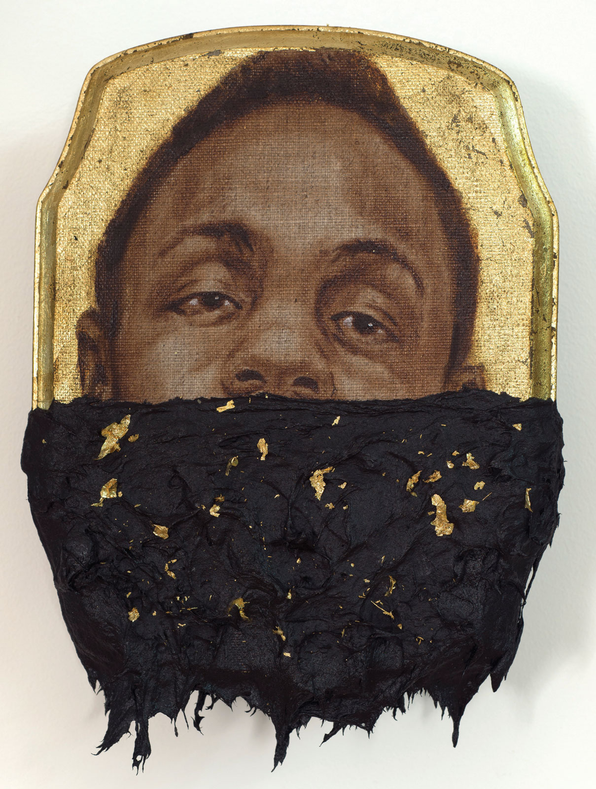 <i>Jerome III</i> (2014), 10˝ × 7˝ × 1˝, oil, gold leaf, and tar on wood panel
