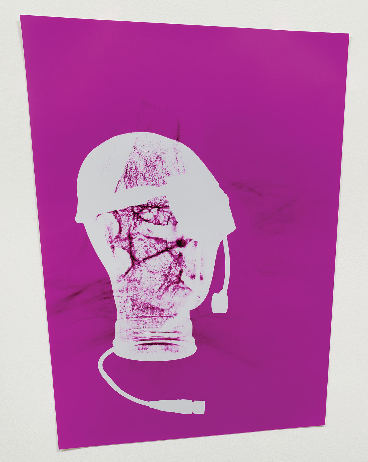 <i>Combat Gear: Talking Heads</i> (2013). 27 5/8˝ × 42 1/4˝ (framed), unique chromogenic photogram from headsets.