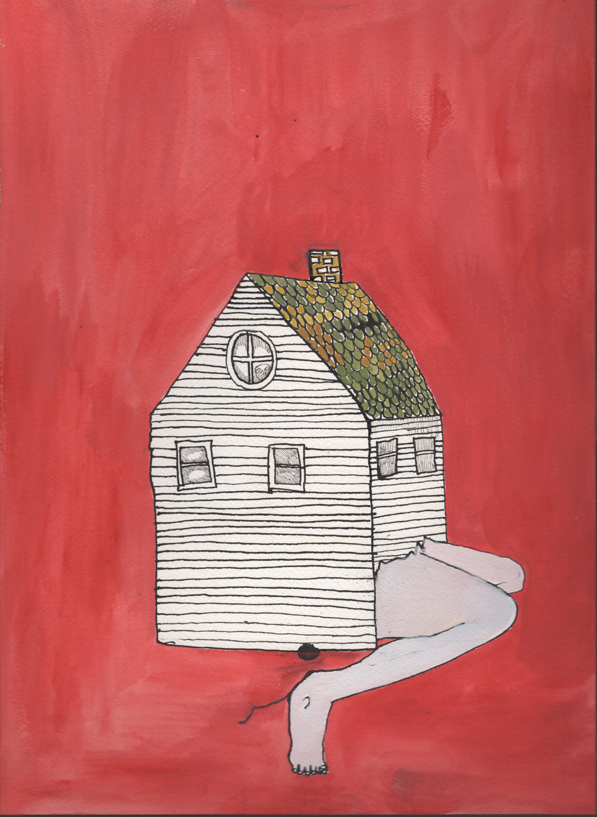 <i>Last House on the Left</i> (2014), pen, ink, and watercolor, 10˝ × 14˝