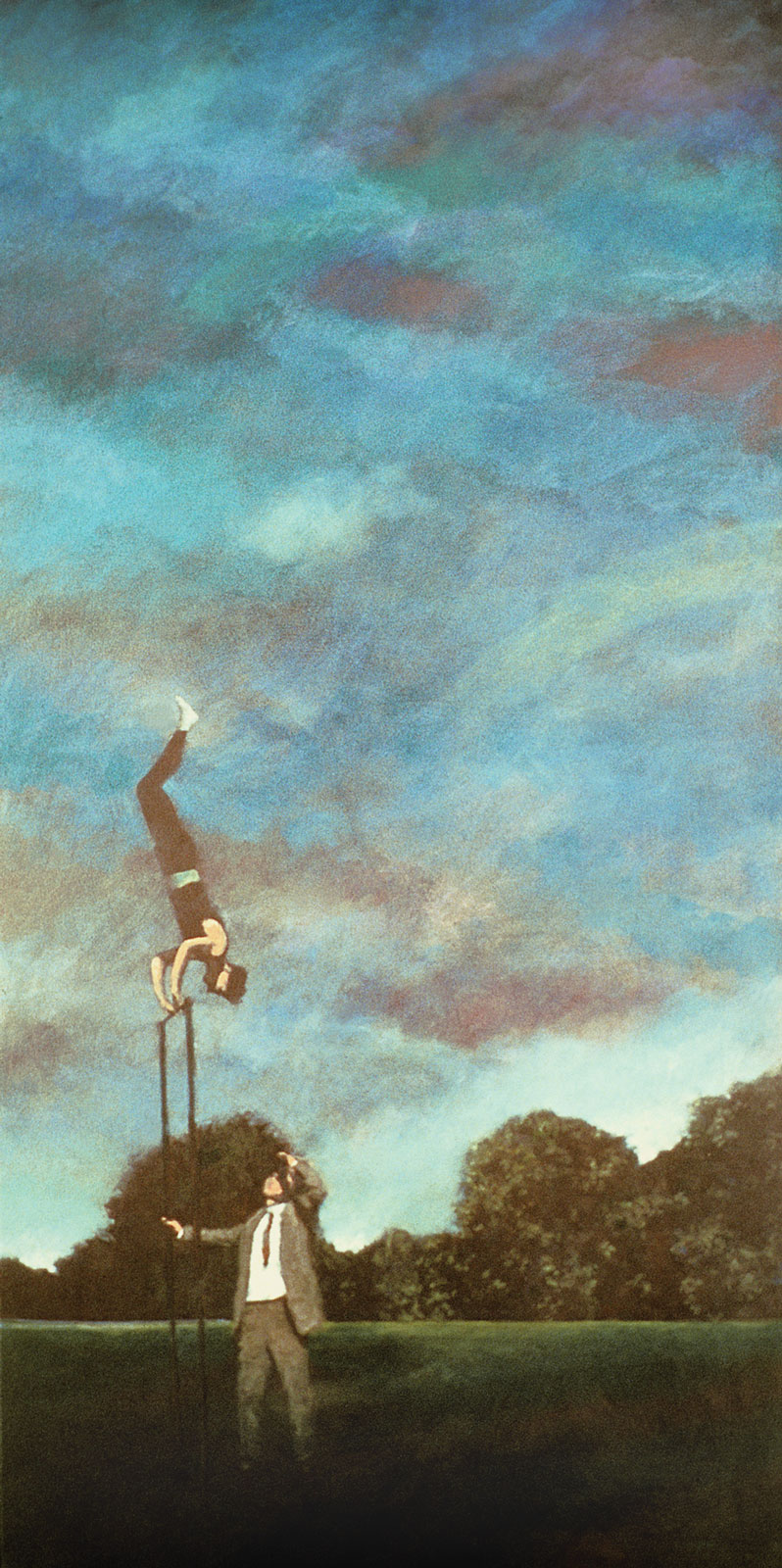 <i>Man on a High Bar</i> (2003), detail,  52˝ × 26˝, acrylic on canvas