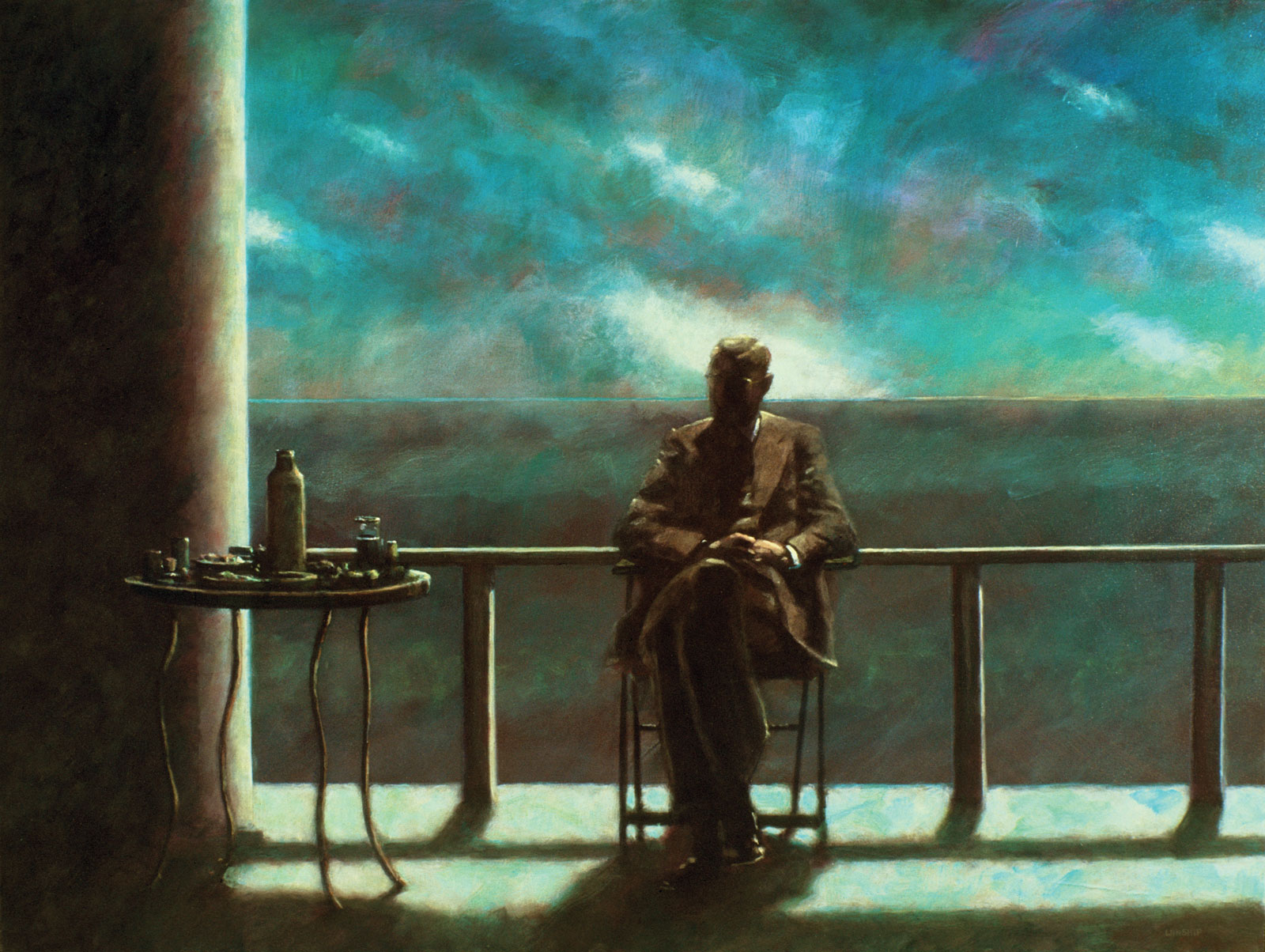 <i>Seated Man (Oceanside)</i> (2000), 34˝× 48˝, acrylic on canvas