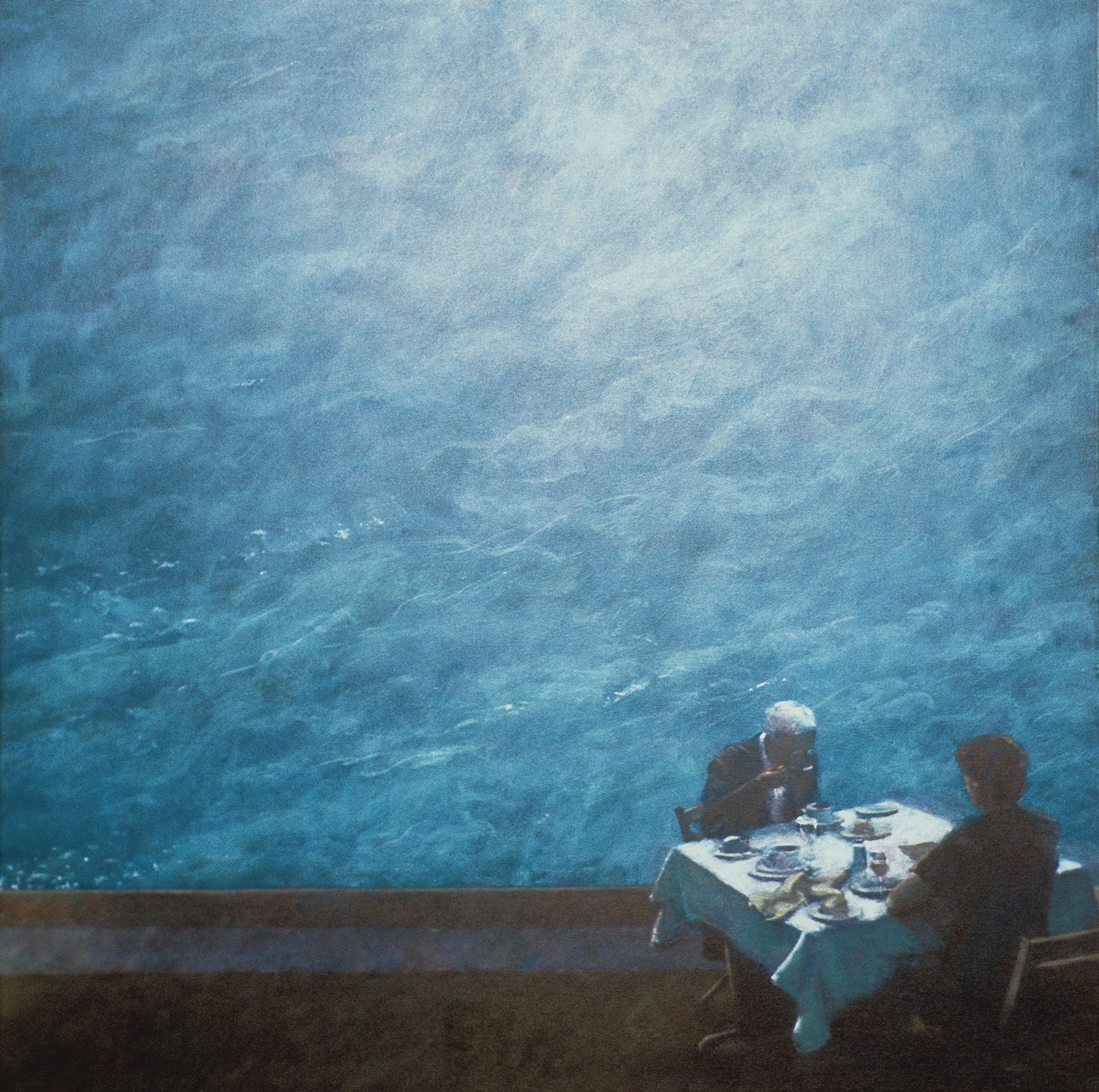 <i>Couple Eating (Poolside)</i> (2005), 42˝× 42˝, acrylic on canvas