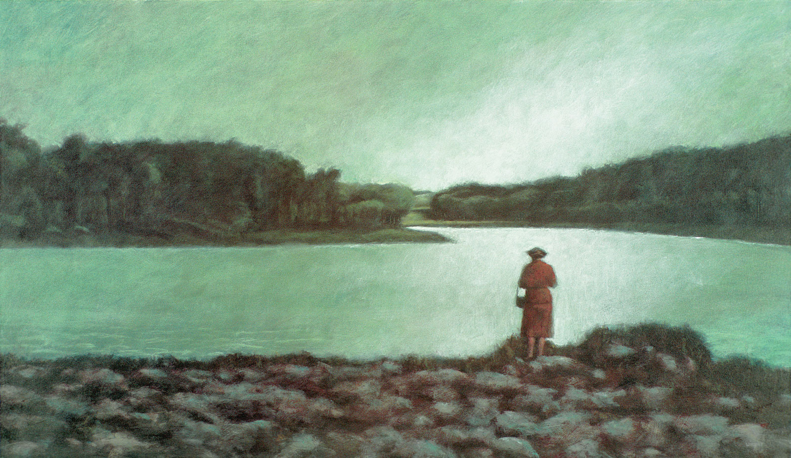 <i>Woman beside a River </i> (2005), 28˝× 48˝, acrylic on canvas