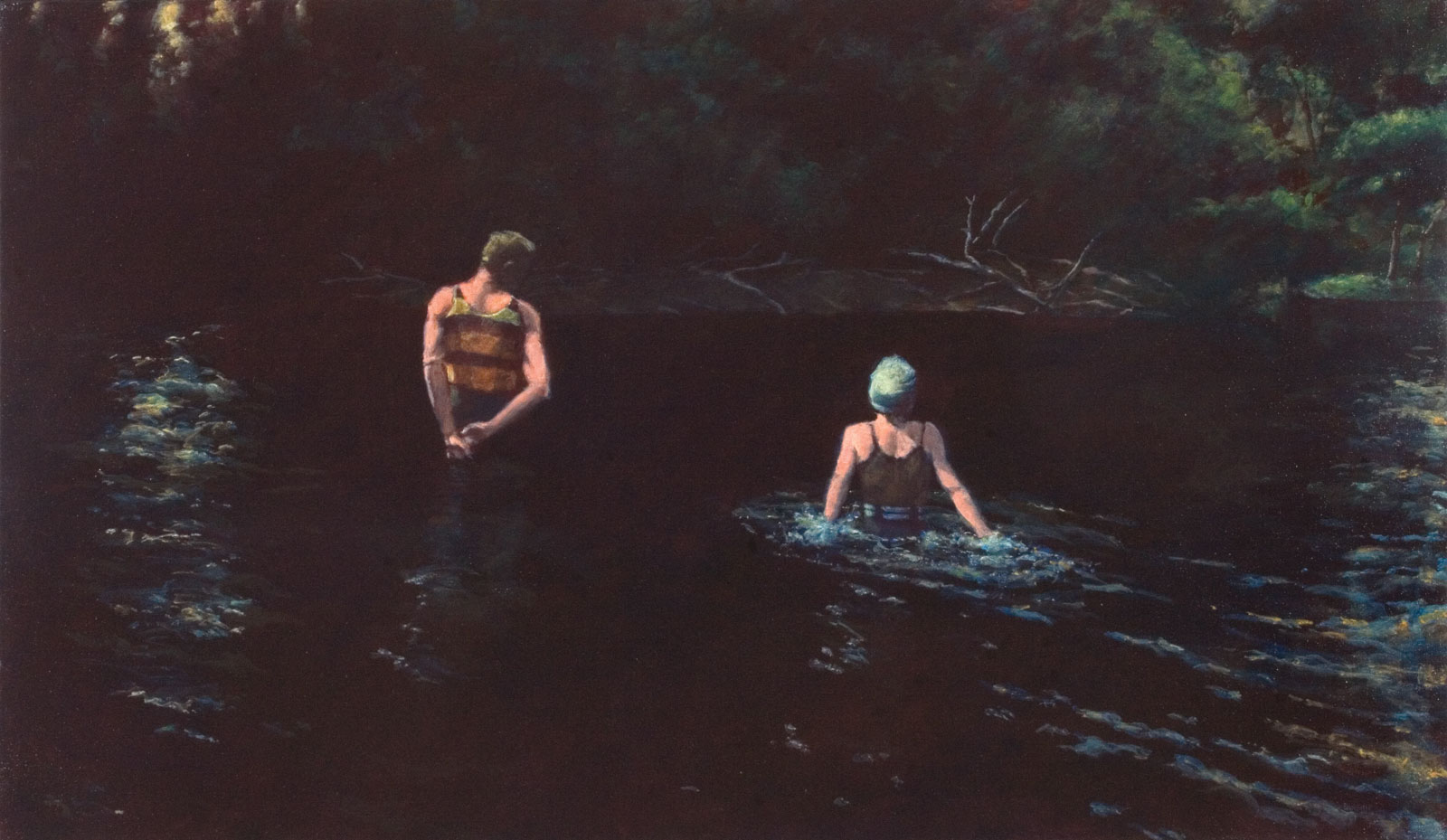 <i>Dark Water (Two Figures)</i> (2011), 28˝× 48˝, acrylic on canvas