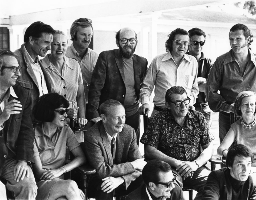 The 1970 staff of the Bread Loaf Writers' Conference, Middlebury College, Middlebury, Vermont. Standing (left to right): Galway Kinnell, Judith Ciardi, Perry Knowlton, Miller Williams, Dan Wakefield, Sandy Martin, Harry Crews. Middle: John Frederick Nims, Maxine Kumin, William Sloane, John Ciardi, Joanna Foster. Front: John Williams, Shane Stevens. Photo by Alan Caruba.