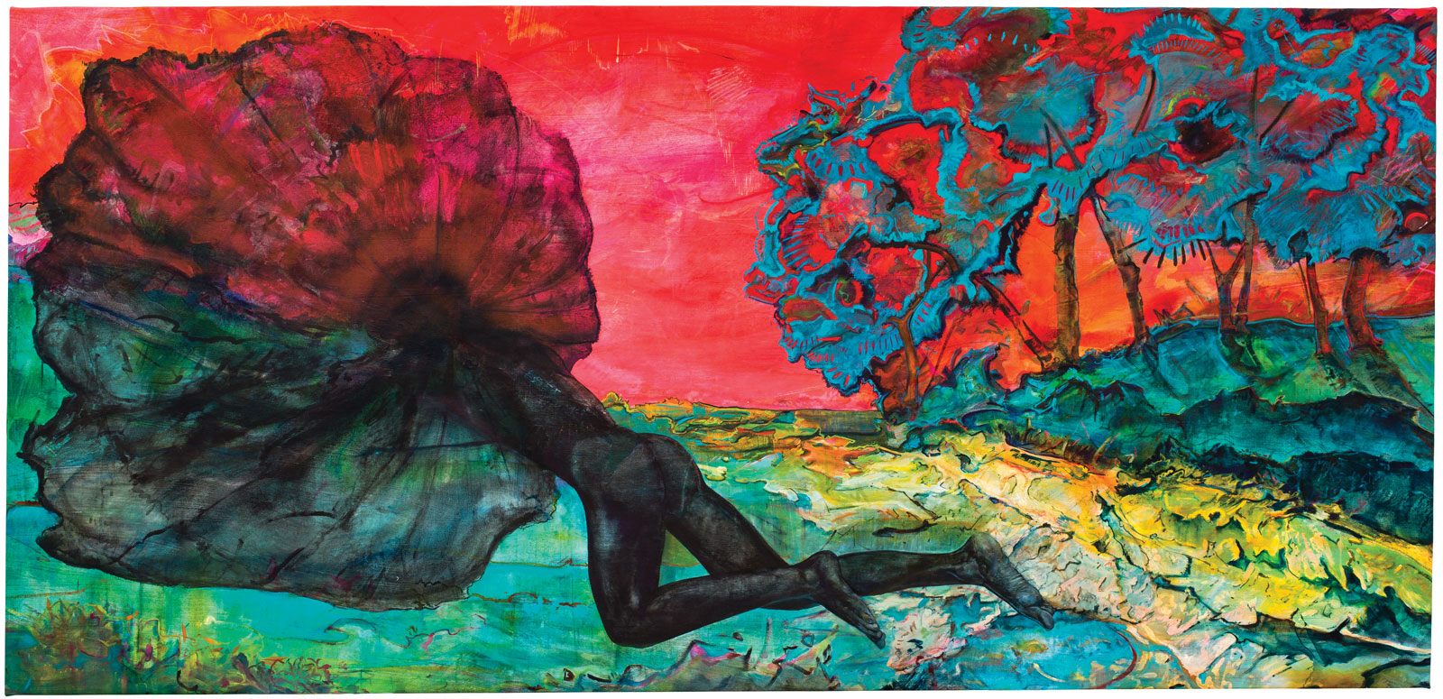 <i>Aubade</i> I (2015), acrylic, blood, ink, chalk, and oil on canvas, 54˝ × 120˝. Collection of Allegra LaViola.
