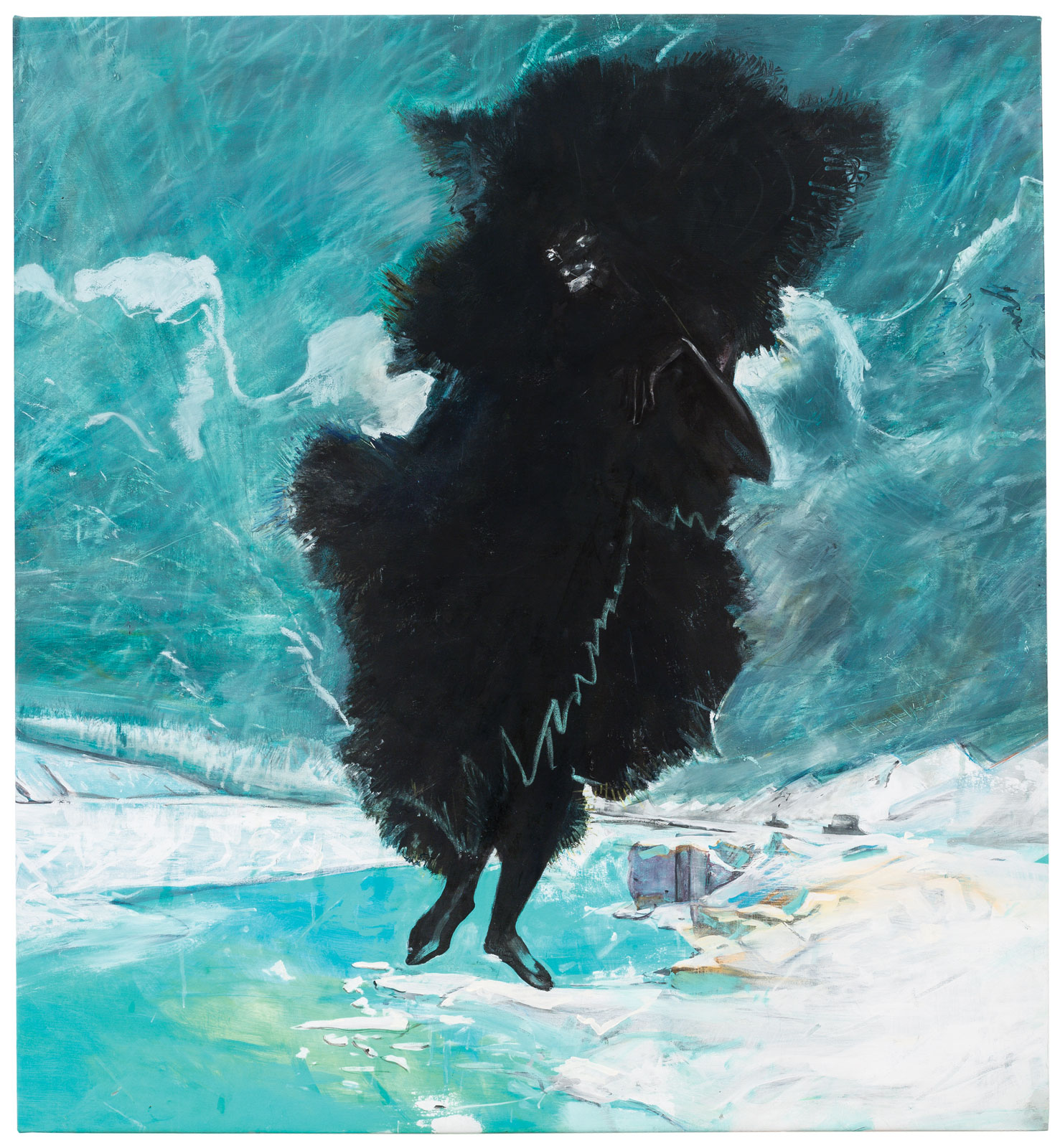 <i>Black, Black, Black Is the Color of My True Love's Hair</i> (2014), acrylic, oil, and chalk on brushed cotton, 55˝ × 50˝