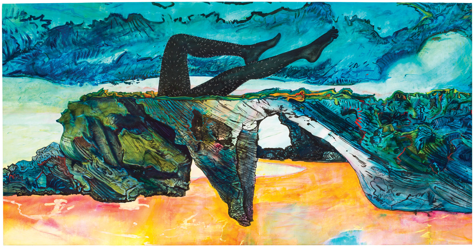 <i>Sea Arches</i> (2015), acrylic, ink, blood, oil, staples, and chalk on canvas, 60˝ × 125˝. Collection of Allegra LaViola.
