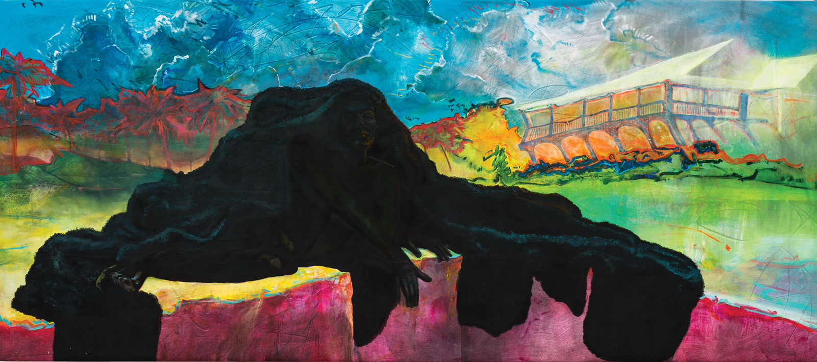 <i>Tucker's Point Golf Club and Cemetery</i> (2015), acrylic, oil, chalk, and blood on canvas, 57˝ × 120˝