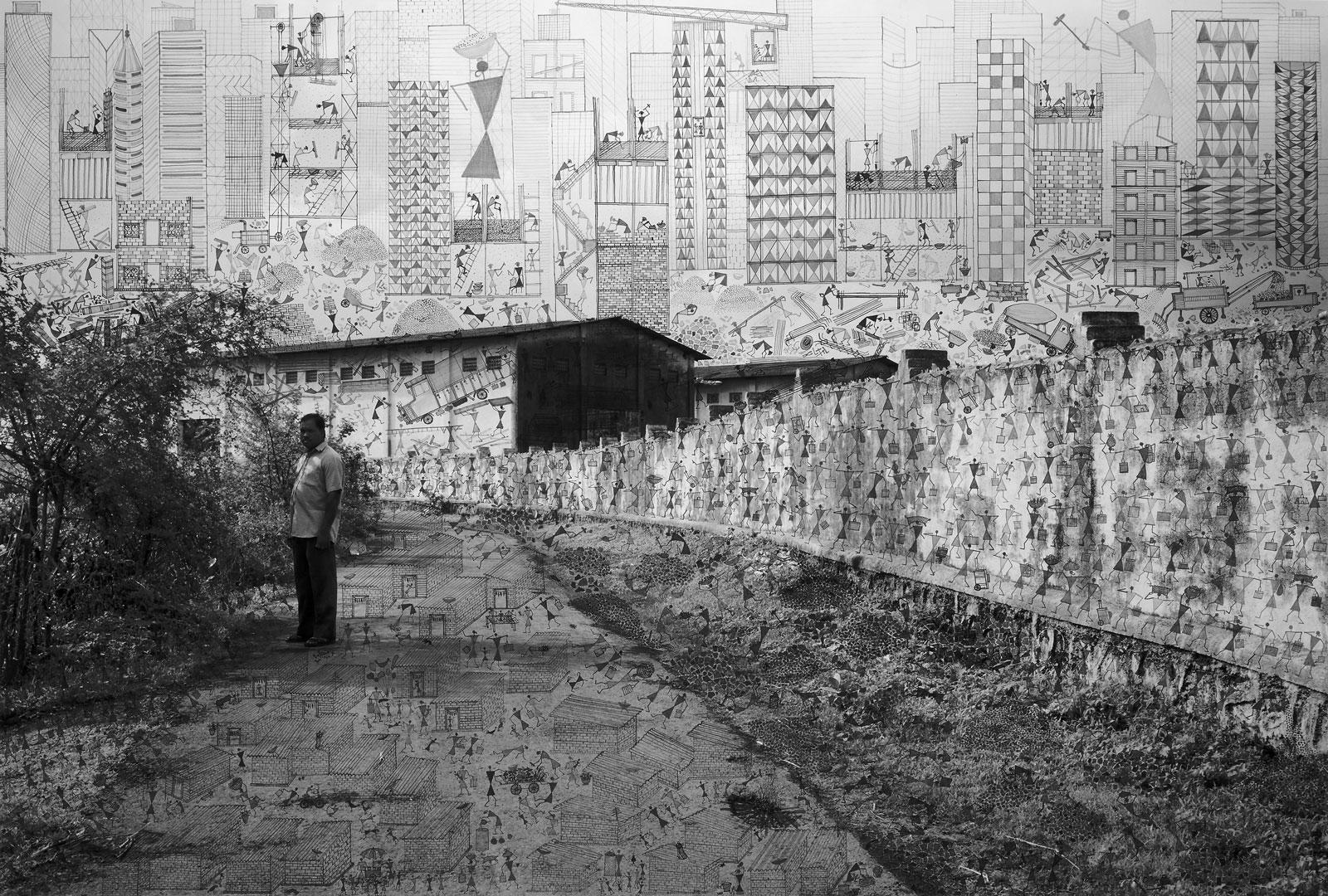 <i>Building the City</i> (2016), 42˝ × 62˝